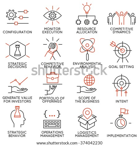 Vector set of 16 icons related to business management, strategy, career progress and business process. Mono line pictograms and infographics design elements - part 41 - stock vector