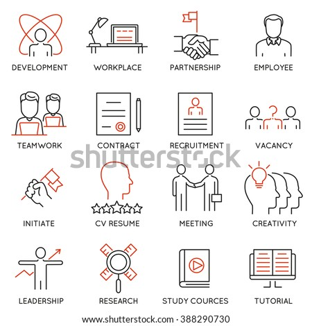 Vector set of 16 icons related to business management, strategy, career progress and business process. Mono line pictograms and infographics design elements - part 46 - stock vector