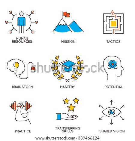 Vector set of icons related to career progress and business management. Infographics design elements - part 2 - stock vector