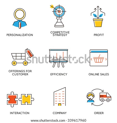Vector set of icons related to career progress and business management. Infographics design elements - part 5 - stock vector