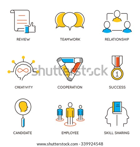 Vector set of icons related to career progress and business management. Infographics design elements - part 8 - stock vector