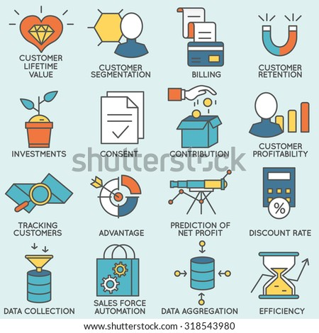 Vector set of icons related to customer relationship management. Flat line pictograms and infographics design elements - part 6 - stock vector