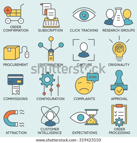 Vector set of icons related to customer relationship management. Flat line pictograms and infographics design elements - part 8 - stock vector