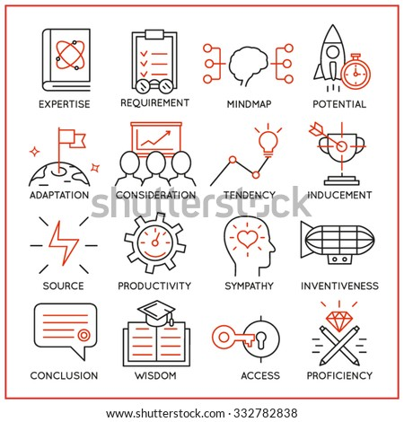 Vector set of 16 icons related to human resource management, mental process and useful abilities. Mono line pictograms and infographics design elements - part 3 - stock vector