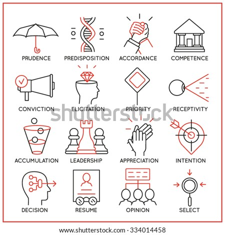 Vector set of 16 icons related to human resource management, mental process and useful abilities. Mono line pictograms and infographics design elements - part 4 - stock vector
