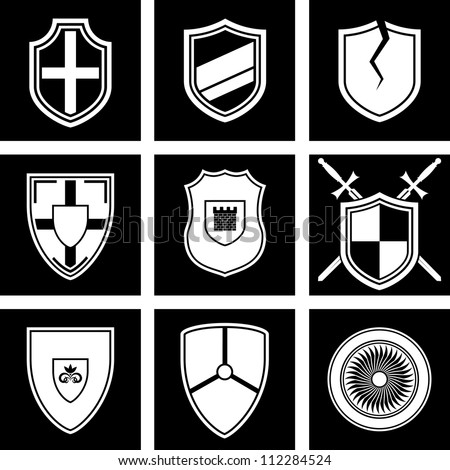 Vector set of icons shields
