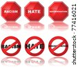 Vector set of icons showing a stop sign and a forbidden sign combined with the words 'racism,' 'hate,' and 'discrimination' - stock photo