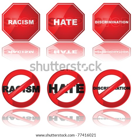 Vector set of icons showing a stop sign and a forbidden sign combined with the words 'racism,' 'hate,' and 'discrimination' - stock vector