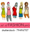 vector set of illustrated elegant stylized fashion models - stock vector