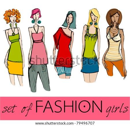 vector set of illustrated elegant stylized fashion models - stock vector