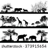 Vector set of illustration with wild animals (giraffe, elephant, lion) in different habitats - stock vector