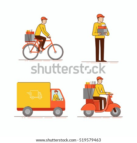 Vector set of  illustrations in modern flat linear style - man courier using different kinds of transport  - delivery business concept - motorbike, bicycle, and truck