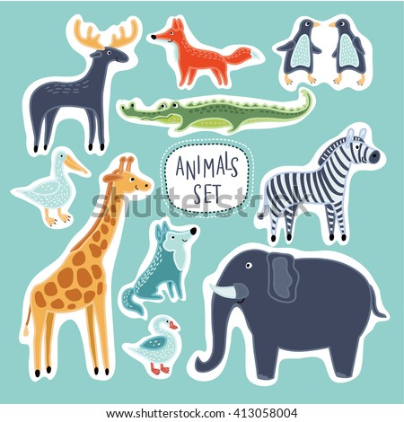 Vector Set of illustrations of cartoon funny cute animals - stock vector
