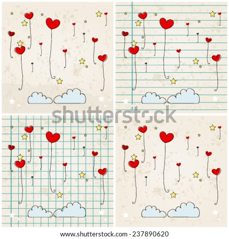 Vector set of illustrations of cute heartshaped balloons flying in the air - stock vector