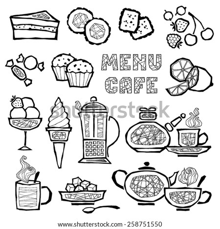 vector set of illustrations of items related to coffee, tea and dessert - stock vector
