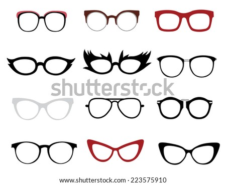 Vector set of illustrations of stylish and funny glasses - stock vector