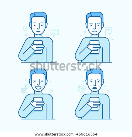 Vector set of illustrations of the male character in trendy flat linear style - guy holding mobile phone with different expressions of face - smartphone addict - receiving notifications and messages