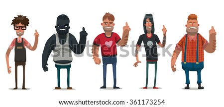 Vector set of images of angry men with different hair color and skin in different clothes, showing middle finger on a light background. Anti Valentine. Vector illustration. - stock vector