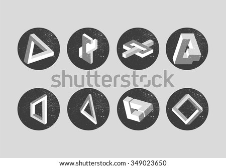 Vector set of impossible objects. Geometric shapes, labels, emblems, design elements. Penrose triangle and optical illusions. - stock vector