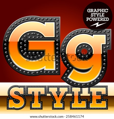 Vector set of industrial style orange font with black rivet border. Letter G  - stock vector