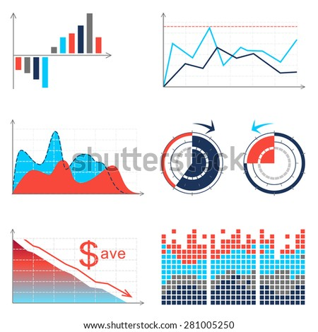 Vector  set of infographic elements: graphs, pies, charts etc. - stock vector