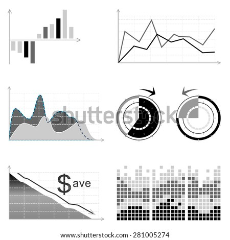 Vector  set of infographic elements: graphs, pies etc. Grey scale - stock vector
