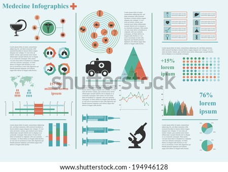 Vector set of infographic elements, including 33 icons, world map, 9 types of diagram concerning to medicine and health themes - stock vector