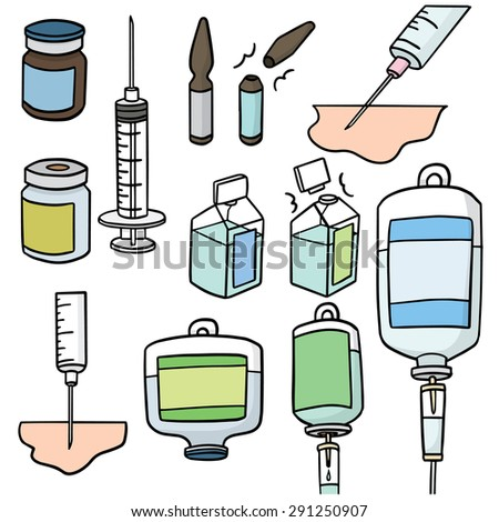 vector set of injection medicine
