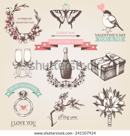 Vector set of ink hand drawn valentine's day illustration. Vintage valentine's collection with hand drawn blooming fruit tree twigs - stock vector