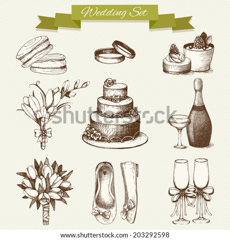 Vector set of ink hand drawn wedding illustration isolated on vintage background. Vintage decorative wedding collection. - stock vector