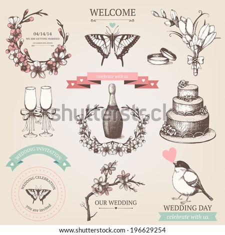 Vector set of ink hand drawn wedding illustration. Vintage wedding collection with hand drawn blooming fruit tree twigs. - stock vector