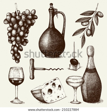Vector set of  ink hand drawn wine and food  illustration isolated on vintage background for menu or restaurant design. - stock vector
