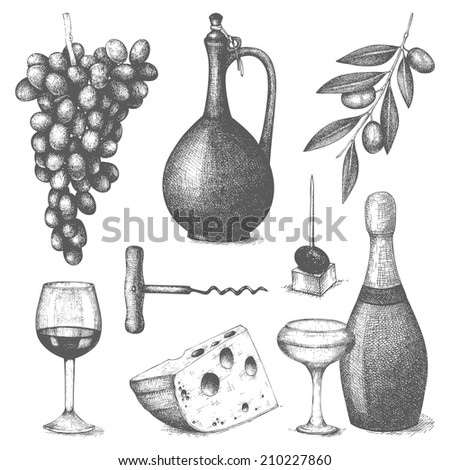 Vector set of  ink hand drawn wine and food  illustration isolated on white background for menu or restaurant design. - stock vector