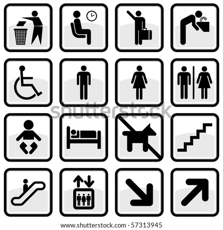 Vector set of international service signs. All objects and details are isolated and grouped. Color, background color and glare effect are easy to remove or adjust. Symbols are replaceable. - stock vector