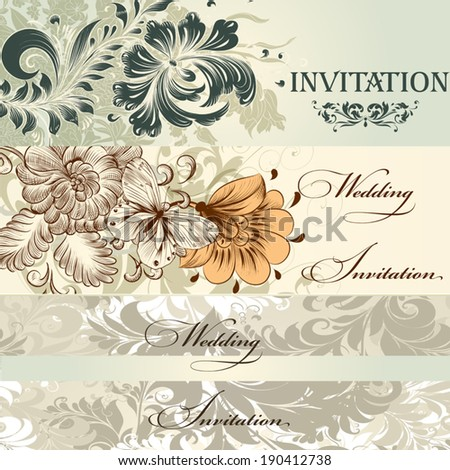 Vector set of invitation cards or wedding  design in classic style - stock vector