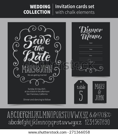 Vector set of invitation cards with chalk ornamental elements. Wedding collection of template: Save the Date, Dinner Menu, cards and labels. Chalk alphabet letters and signs included. - stock vector