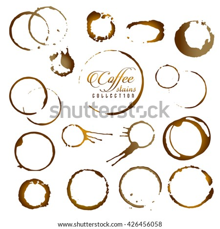 Vector set of isolated coffee stain ring. Coffee cup ring stain for logo design.