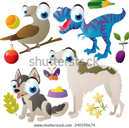 Vector set of isolated cute animals: dove, borzoi dog, husky dog, t-rex - stock vector