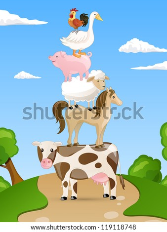 Vector Set of isolated Farm Animals - stock vector