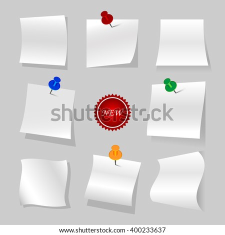 Vector set of  isolated papers and new logo, variations of curved sheets.