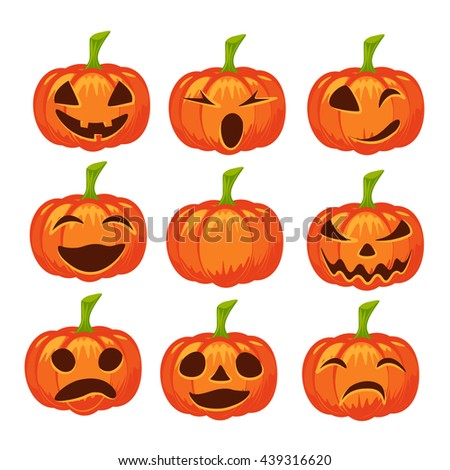 Vector set of isolated pumpkins on white background. Halloween design, emotion, laughing, angry, smiling, sad, scary, evil, winking smile. Jack lantern for website, flier, invitation card - stock vector