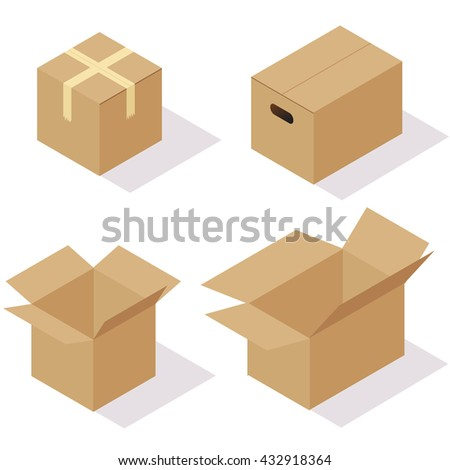 Vector set of isometric boxes. Opened and closed carton packages. Flat design on white background. - stock vector