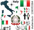 Vector set of Italy country shape with flags, wind rose and icons isolated on white background - stock vector
