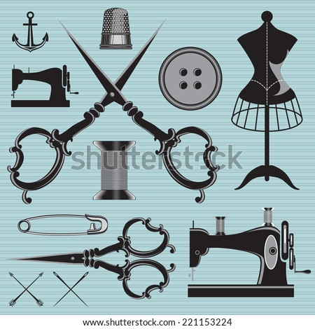 vector set of items and equipment to topics tailor, clothing, repair - stock vector