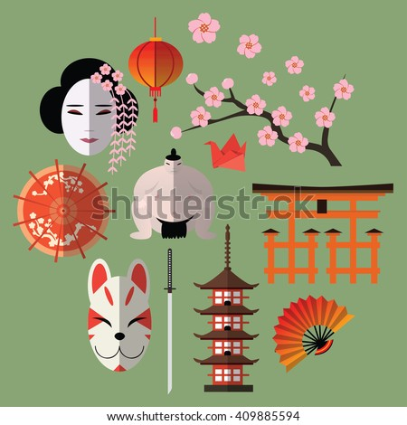 Vector set of japanese flat icons