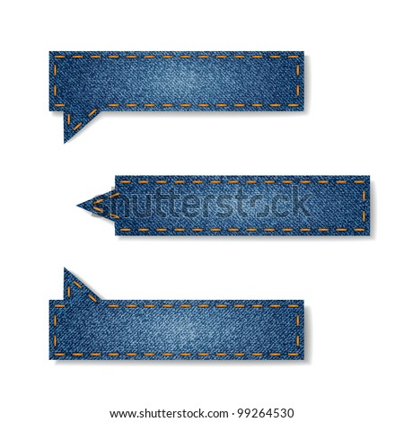Vector set of jeans tags for your website - stock vector