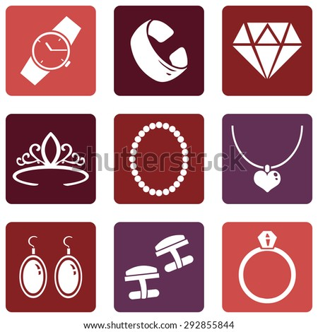 Vector Set of Jewellery Icons - stock vector