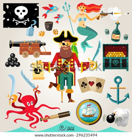 vector set of jolly pirate and red-haired mermaid surrounded by objects and creatures related to the sea and piracy. Flat cartoon style. - stock vector