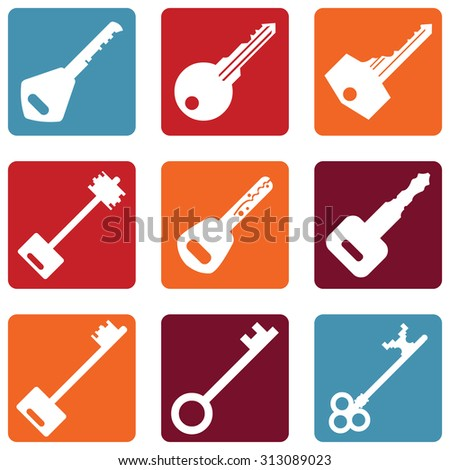 Vector Set of Keys Icons. Modern and Antique Keys. Types of Keys