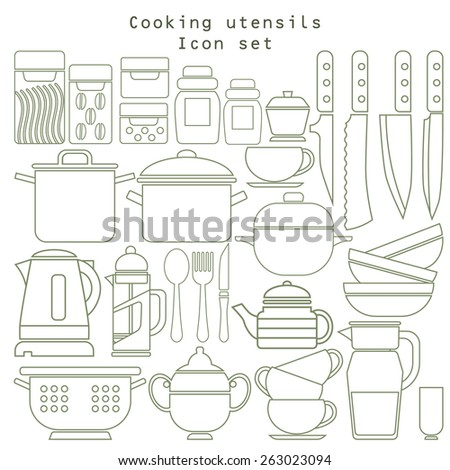 vector set of Kitchen tool collection - stock vector